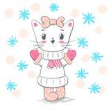 Cute, pretty love cat illustration. vector illustration