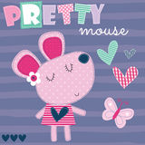 Cute and pretty mouse vector illustration Royalty Free Stock Photos
