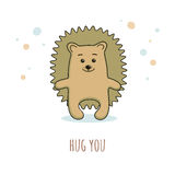 Cute prickly hedgehog in a cartoon style with inscription Hug you. Vector design suitable for greeting cards or T-shirts Royalty Free Stock Photos