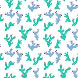 Cute Prickly pear cactus pattern, hand drawn. Cute Prickly pear cactus, Opuntia pattern, hand drawn seamless background Royalty Free Stock Photos