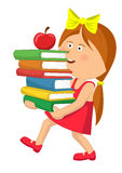 Cute primary schoolgirl carrying stack books with red apple Stock Photos