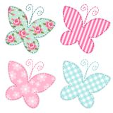 Cute primitive retro butterflies as textile patch applique. For your decoration Royalty Free Stock Image