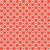 Cute primitive retro seamless pattern with small hearts on plaid background Stock Image
