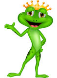 Cute prince frog cartoon presenting Royalty Free Stock Photography