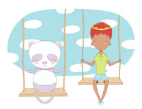 Cute prince and panda on a swing Stock Photography
