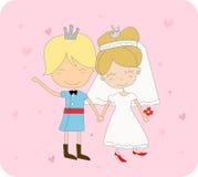 Cute prince and princess. Vector illustration of cute prince and princess stock illustration