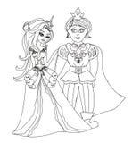 Cute Prince and Princess. Vector Illustration Royalty Free Stock Photo