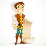 Cute prince with a scroll of parchment Royalty Free Stock Image