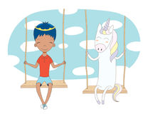Cute prince and unicorn on a swing Stock Images
