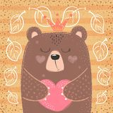 Cute princess bear - cartoon illustration. royalty free illustration
