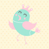 Cute princess bird, cartoon style Stock Image