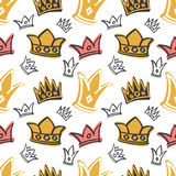 Cute princess birthday vector seamless pattern with pink and gold crowns. Background with majestic crown queen illustration Stock Photos