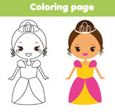 Cute princess. Coloring page. Drawing educational game for toddlers kids. Printable activity. Sheet vector illustration