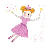 Cute princess fairy vector with stars background Royalty Free Stock Images