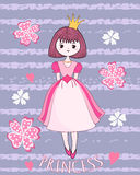 Cute princess on the flower background. Royalty Free Illustration