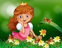 Cute princess in garden Royalty Free Stock Photos