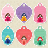 Cute princess gift tags. Cute gift tags with little cartoon princesses. Some blank space for your text included Stock Images