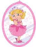 Cute princess girl. Cute girl pretending to be a princess in pink and looking to herself in the mirror. Cartoon illustration Stock Image
