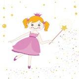 Cute princess girl vector background. Princess girl vector background greeting card Royalty Free Stock Photo