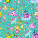 Cute princess Icons set with unicorn, dragon Girl wallpaper. Big Bundle cute collection of beautiful princesses Royalty Free Stock Photography