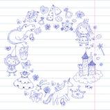 Cute princess Icons set with unicorn, dragon Girl wallpaper. Big Bundle cute collection of beautiful princesses Royalty Free Stock Photography
