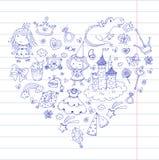 Cute princess Icons set with unicorn, dragon Girl wallpaper. Big Bundle cute collection of beautiful princesses Stock Images