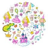 Cute princess Icons set with unicorn, dragon Girl wallpaper. Big Bundle cute collection of beautiful princesses Stock Photo