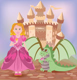 Cute princess and little dragon Stock Image