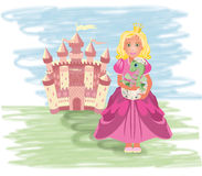 Cute princess with little dragon Royalty Free Stock Photos