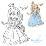 Cute princess with long hair holds on finger little bird Stock Photo