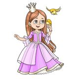 Cute princess with long hair holds on finger little bird Stock Photography