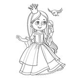 Cute princess with long hair holds on finger little bird outlined picture for coloring book Stock Photos