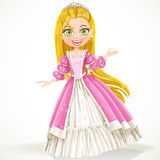 Cute princess with long hair in a pink dress Stock Image