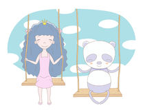Cute princess and panda on a swing Stock Images