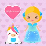 Cute princess with pet. Girl in blue dress and unicorn. Vector illustration in kawaii style. For print design and kids fashion Royalty Free Stock Image
