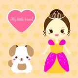 Cute princess with pet. Girl in blue dress and unicorn. Vector illustration in kawaii style. For print design and kids fashion Royalty Free Stock Photos