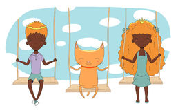 Cute princess, prince and cat on a swing. Hand drawn vector illustration of a cute little dark skinned princess and prince crown can be removed with cat, on a Stock Photos
