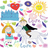 Cute princess & prince doodle set. Cute princess & prince doodle set with flower & heart Stock Photo