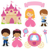 Cute princess and prince fairy tale. A  illustration of cute princess and prince attributes Royalty Free Stock Photos