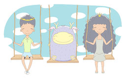 Cute princess, prince and monster on a swing. Hand drawn vector illustration of cute little princess and prince crown can be removed with monster, on a swing Stock Photo