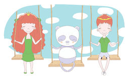 Cute princess, prince and panda on a swing. Hand drawn vector illustration of cute little princess and prince crown can be removed with panda, on a swing, with Stock Photography
