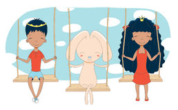 Cute princess, prince and rabbit on a swing. Hand drawn vector illustration of cute little tanned princess and prince crown can be removed with rabbit, on a Royalty Free Stock Image
