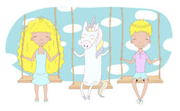 Cute princess, prince and unicorn on a swing Royalty Free Stock Image