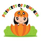 Cute princess pumpkin girl in pumpkin fruit  cartoon illustration for halloween card design. Wallpaper and kid t-shirt design Royalty Free Stock Photo
