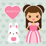 Cute princess with rabbit pet. Girl in pink dress and bunny. Vector illustration in kawaii style Stock Photo