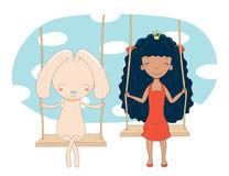 Cute princess and rabbit on a swing stock illustration