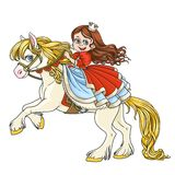 Cute princess riding on horse that bucks front hooves Stock Photo