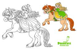 Cute princess riding on horse that bucks front hooves Stock Images