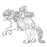 Cute princess riding on a horse that bucks front hooves outlined Stock Images