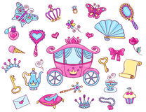 Cute princess set with carriage Stock Image